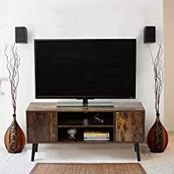 Living Room GOOD & GRACIOUS Mid Century Modern TV Stand for Up to 43 Inch TV, Small Industrial Style Entertainment Center, Rustic… modern tv stands