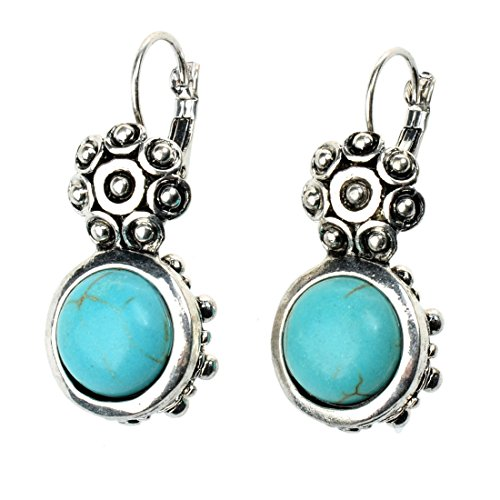 Veenajo Cyber Monday Vogue Curved Flower and Round Turquoise Lever-Back Drop Earrings