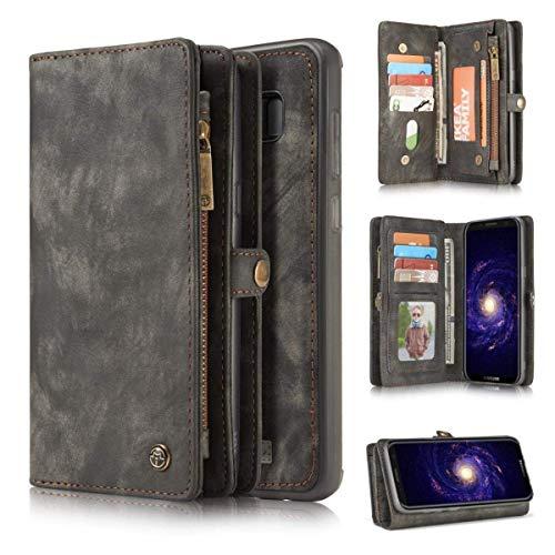 LG Stylo 3 Stylus 3 Wallet Case,Yaheeda Handmade Leather Wallet Case,Zipper Wallet Case with Stylus [Magnetic Closure]Detachable Magnetic Case & Card Slots for LG Stylo 3 Stylus 3 LS777/Stylo 3 Plus