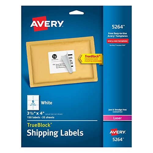 Avery Shipping Address Labels, Laser Printers, 150 Labels, 3-1/3x4 Labels, Permanent Adhesive, TrueBlock (5264)