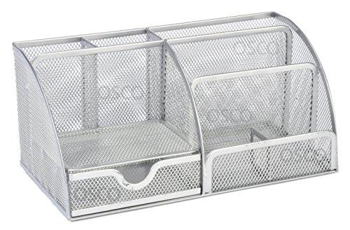 Osco - Organizador de escritorio grande (malla, resistente, con almohadillas de goma), color plateado, plateada