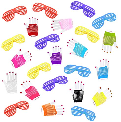 Rock Star Party Pack - ISusser 80s Retro Rock Pop Star Disco Dress-Up Party Pack Supply Set with Diva Finger-less Net Gloves(12 Pack), Shutter Style Glasses(12 Pack)