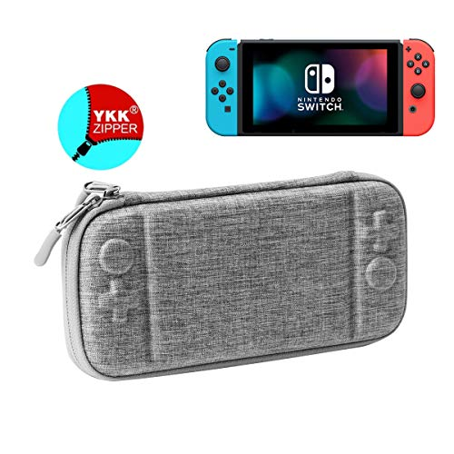 Ultra Slim Carrying Case Compatible with Nintendo Switch, Rayvol Portable Protective Travel Hardshell Case, Holds Switch Console Cover,10 Game Cartridges Accessory,Gray