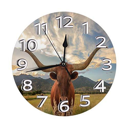 Yanghl Texas Longhorn Print Round Wall Clock Decorative, 9.8 Inch Silent Non Ticking Home Office School Decorative Clock Art ()