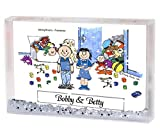 Personalized Friendly Folks Cartoon Snow Globe Frame Gift: Twin Brother & Sister Great for room décor