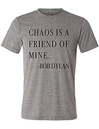 Chaos Is A Friend Of Mine Bob Dylan Men's T-Shirt- Grey