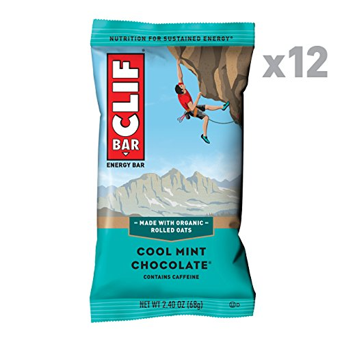 CLIF BAR - Energy Bars - Cool Mint Chocolate - 49mg Caffeine (2.4 Ounce Protein Bars, 12 Count)