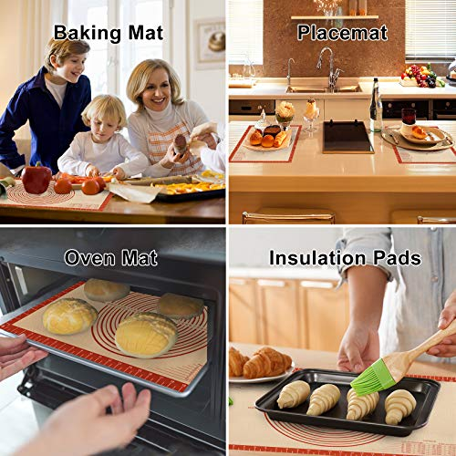 Silicone Pastry Mat With Measurements,Non-stick Silicone Baking Mat for Rolling Dough Non Slip Extra Large Fondant Mat,BPA-Free Counter Mat,Oven Liner for Pie Crust,Pizza and Cookies 16\'\'(W)26\'\'(L)