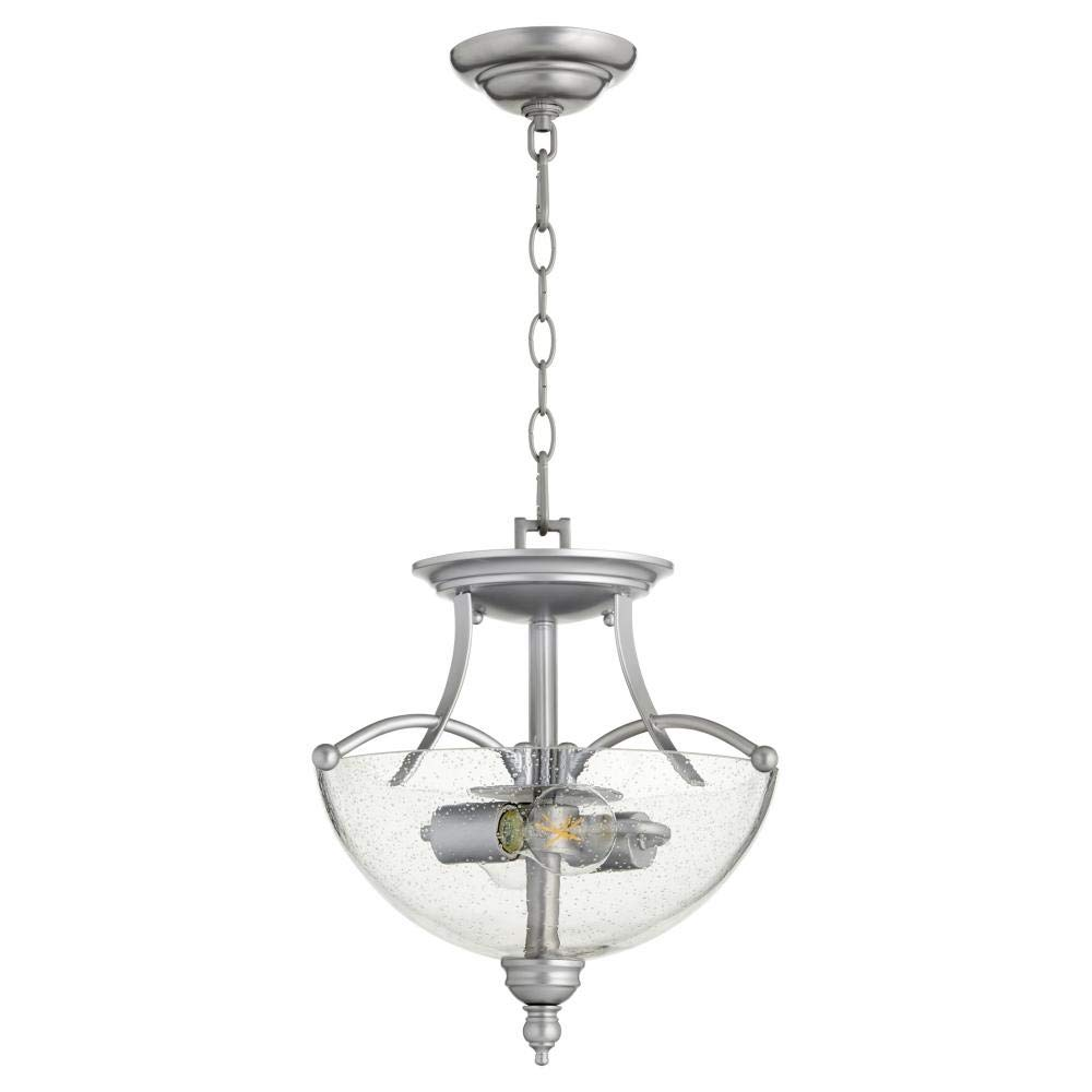 Quorum 2877-14-64 Aspen Dual-Mount Pendant, 2-Light, 150 Total Watts, Classic Nickel with Clear Seeded Glass