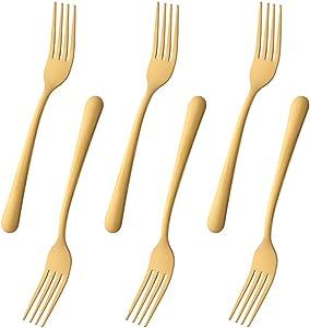 Dongbo Dessert Forks, Gold Stainless Steel Flatware Dinner Forks, Set of 12