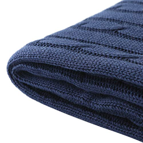 Vonty Navy Blue Throw Blanket 100% Cotton Cable Knit Blanket Decorative Knitted Blanket for Couch, Sofa, Bed, Home Use, 47