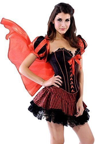 Ladies Sexy Little Red Riding Hood Corset Halloween Fairy Tale Fancy Dress Costume Outfit (UK 8)]()