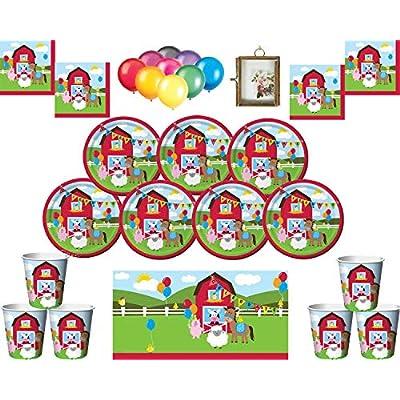 Farmhouse Fun Kids Birthday Party Supplies Platos Vasos Vasos Servilletas y Dos manteles Globos Gratis y Marco de fotos-16 Invitados: Juguetes y juegos