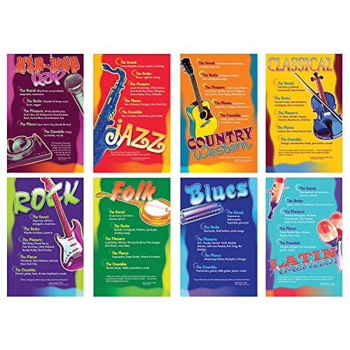 Board Music Bulletin (North Star Teacher Resource NST3059 Music Genres Bulletin Board Set, Set of 8 Posters)