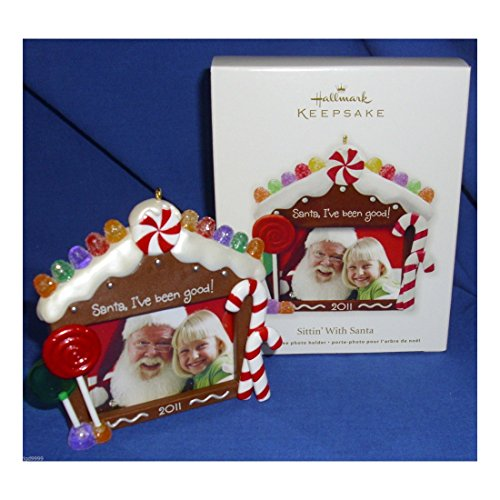 Hallmark Photo Holder Christmas Ornament Sittin' With Santa 2011 Picture Frame