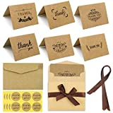 Thank You Cards Multipack, 36 Sets Thank You Cards + Envelopes + Stickers + Ribbons, Brown Kraft Paper Thank You Greeting Cards Thank U Blank Notes Cards for Wedding Birthday Party Thanksgiving Day