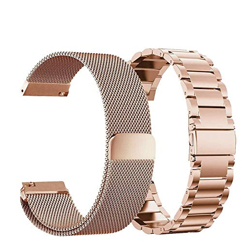 Compatible Samsung Galaxy Watch(42mm) Bands, 20mm Stainless Steel Band + Milanese Loop Mesh Replacement Bracelet Metal Strap Compatible Samsung Galaxy Watch 42mm (Rose Gold) from Acestar