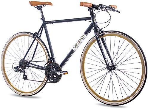 CHRISSON 28 Pulgadas Urban Bicicleta de Carreras Vintage Road 3.0 con 21 g Shimano A070 Retro Negro Mate: Amazon.es: Deportes y aire libre