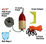 KUFA 1/4 Diameter x 100' Leaded Rope/(11'' Red/White Float)/Harness/Clipper/Bait Bag Combo