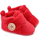 Gupgi Botas de bebé de Felpa cálidas Zapatos de Invierno Caliente bebé Prewalker Botas de bebé, Rojo, 0-6 Meses