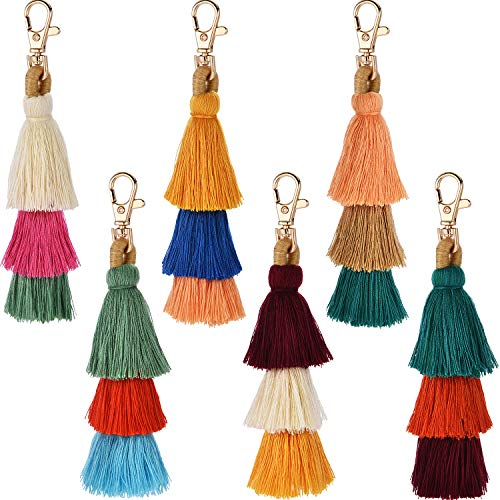 Tatuo 6 Pieces Hand Made Colorful Bohemian Tassel Charm Keychain Handbags Bag Pendant Key Ring Pom Tassels Key Chain(Color Set 1)