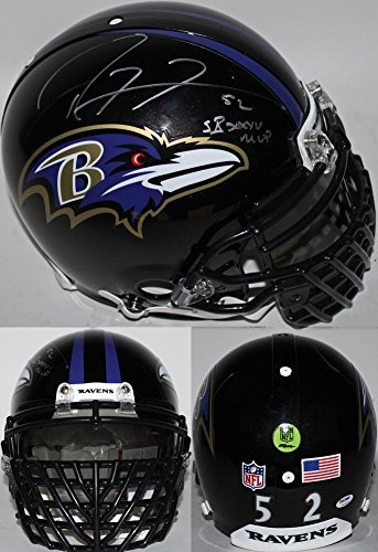 Ravens Ray Lewis Autographed Authentic Full Size Helmet with Bane Face Mask - PSA/DNA - Bane Ray