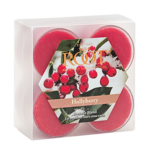 Holly Berry Scent Oil - Root Scented Tealight Beeswax Candles, Box of 8, Hollyberry, Holly Berry, 8 Piece