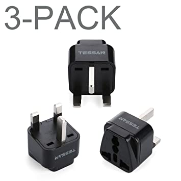 TESSAN Grounded Universal European Travel Plug Adapter USA to UK Travel Prong  Adapter Plug Kit for