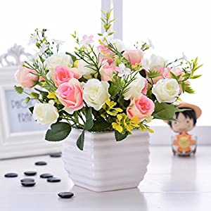 Situmi Artificial Fake Flowers  Potted Plants Ceramic Vases Gift Garden Decoration White Camellia Home Accessories 6