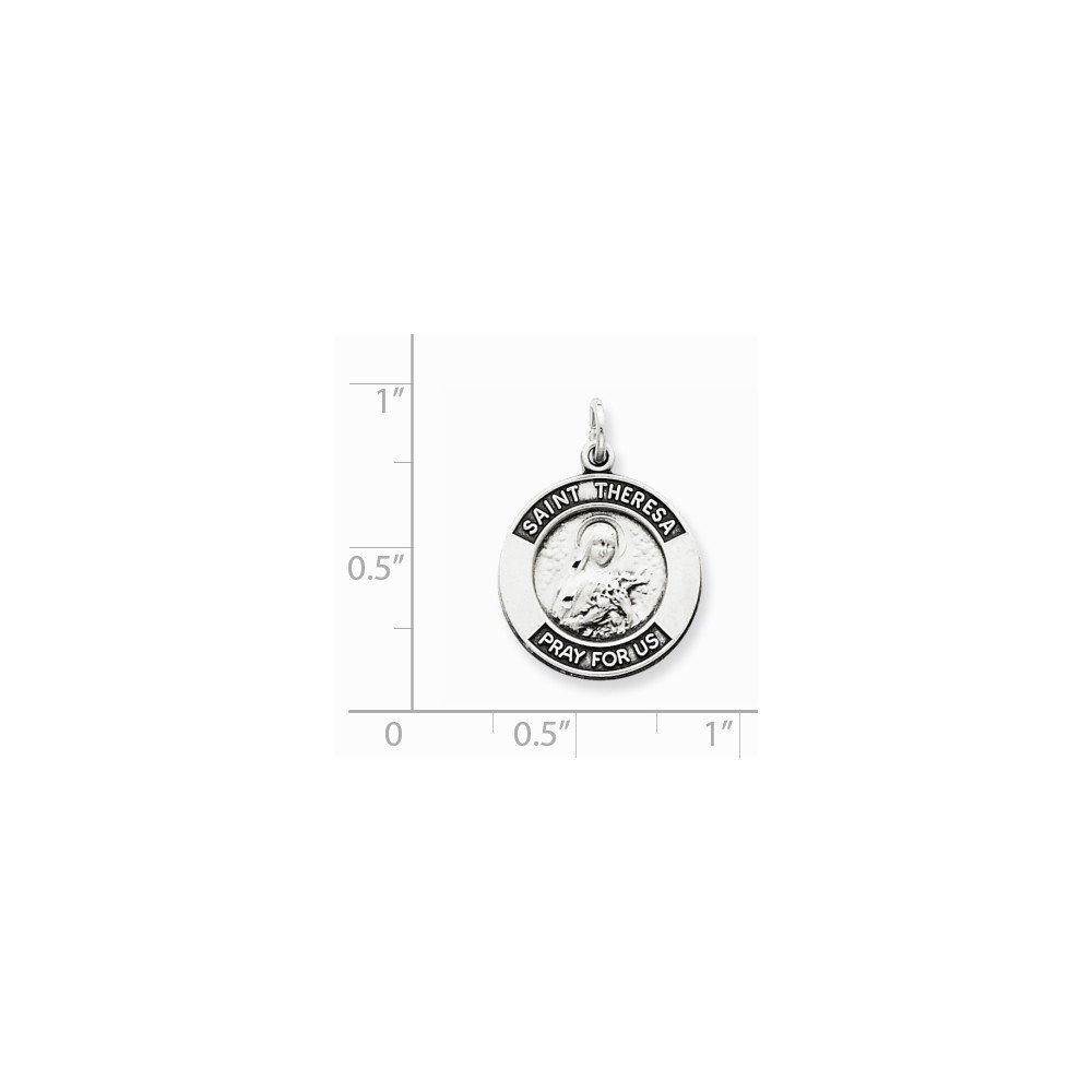 Mia Diamonds 925 Sterling Silver Antiqued Saint Theresa Medal 21mm x 16mm