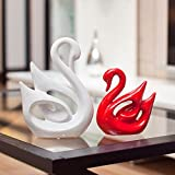 Guo's Pair of Swan Figurines Home Decor Statues Ceramic Decorative Sculpture Set of 2 Red White (big white small red)