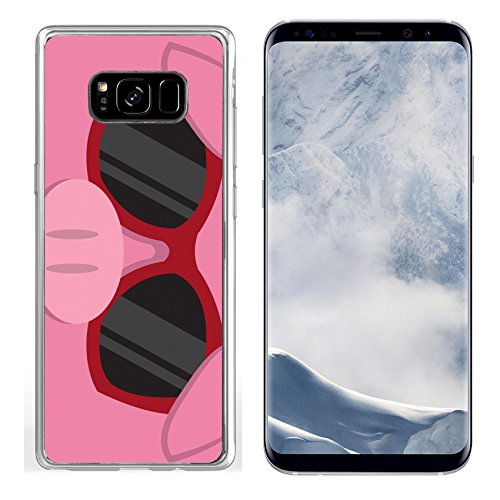 Liili Samsung Galaxy S8 plus Clear case Soft TPU Rubber Silicone Bumper Snap Cases IMAGE ID: 18010975 Cartoon pig head with - With Sunglasses Pig