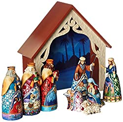 "Jim Shore Heartwood Creek 9-Piece Mini Nativity Set Stone Resin Figurine, 9.75"""