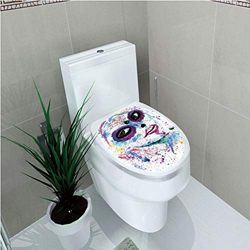 Toilet Sticker 3D Print Design,Girls,Grunge Halloween Lady with Sugar Skull Make Up Creepy Dead Face Gothic Woman Artsy,Blue Purple,for Young Mens,W12.6