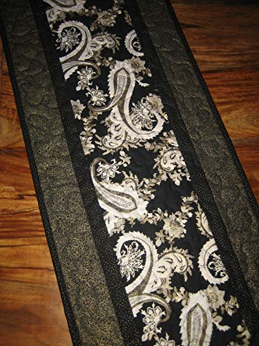 (Reserved for Sandra-Black Silver and White Paisley Quilted Table Runner, Reversible, 12x38