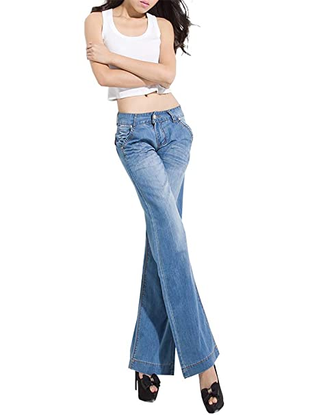 QZUnique Womens Wide Loose Straight-Leg Mid Rise Jeans ...