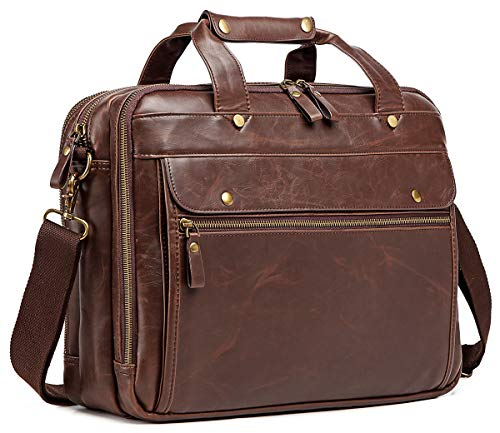 Leather Briefcase for Men Computer Bag Laptop Bag Waterproof Retro Business Travel Messenger Bag Large Tote 15.6 Inch Brown
