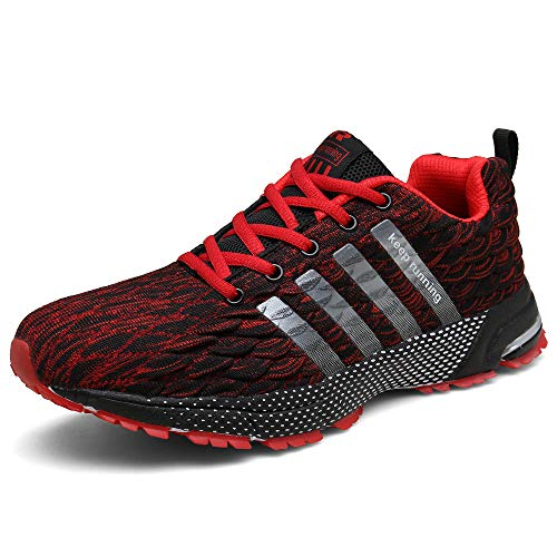 KUBUA Mens Running Shoes Fashion Sneakers Outdoor Road Walking Athletic Jogging Footwear Tennis Bowling Sports Casual Indoor Fitness 9.5 B / 8 D I Red