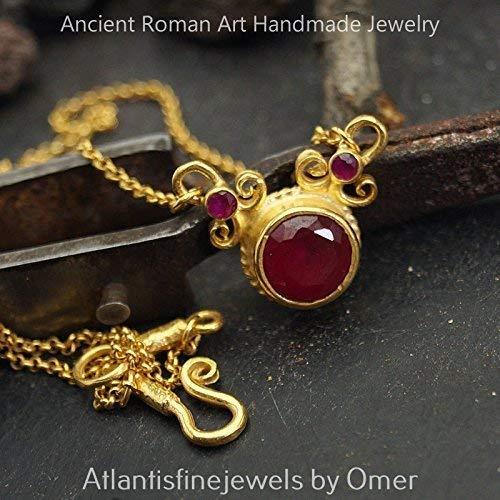 Roman Art Red Topaz Necklace 24k Gold Vermeil Sterling Silver Fine Turkish Jewelry