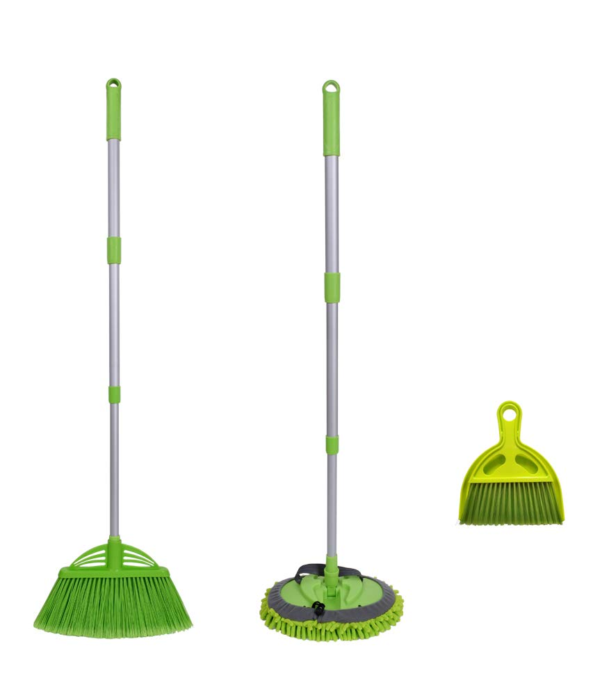 Xifando Three-Section Telescopic Aluminum Alloy Rod Long-Handled Broom&Mop, Mini Broom with Dustpan Set