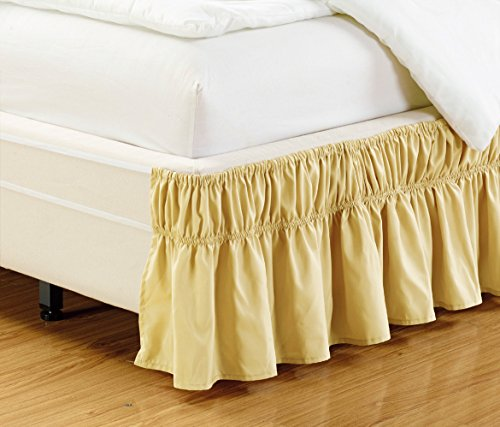 """Wrap Around 15"""" inch Fall Gold Ruffled Elastic Solid Bed Skirt Fits All Twin and Full Size Bedding High Thread Count Microfiber Dust Ruffle, Soft & Wrinkle Free."""