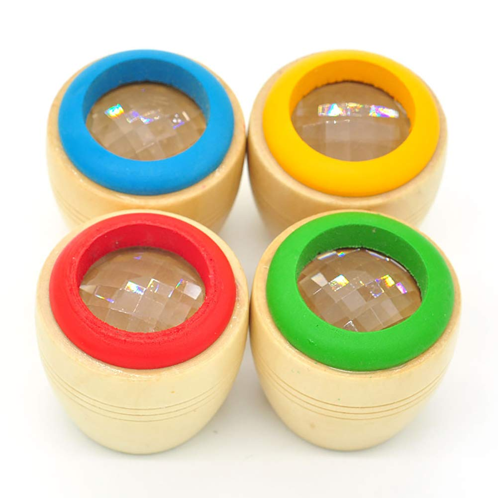 Color Random Xiton 1pc Magic Bee Eye Effect Kaleidoscope Wooden Kids Toy Prism to Observe the Colorful World Funny Children Gifts