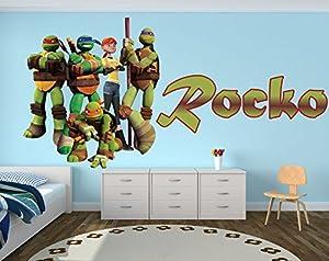 PERSONALISED TEENAGE NINJA TURTLES WALL ART DECAL Sticker Girls - Ninja turtle wall decals