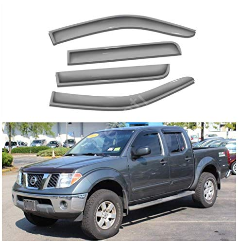 2019 Nissan Frontier Crew Cab - itelleti 4pcs Outside Mount Dark Smoke Sun/Rain Guard Front+Rear Tape-On Auto Window Visors For 05-19 Nissan Frontier 09-12 Suzuki Equator Crew Cab With 4 Full Size Doors