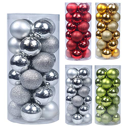 Emopeak 24Pcs Christmas Balls Ornaments for Xmas Christmas Tree - Shatterproof Christmas Tree Decorations Large Hanging Ball for Holiday Wedding Party Decoration(Silver, 1.2Inch/3.1CM)