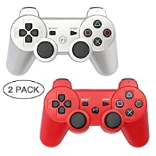 PS3 Controller XFUNY 2 Pack Wireless Bluetooth 6-Axis Controllers Dualshock 3 Gamepad for PlayStation 3 with Charging Cable (Black)