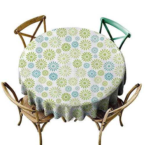 one1love Washable Round Tablecloth House Decor Collection Various Colorful Flowers Pattern Cartoon Children Nursery Kindergarten Artwork for Banquet Decoration Dining Table Cover 55 INCH Green -