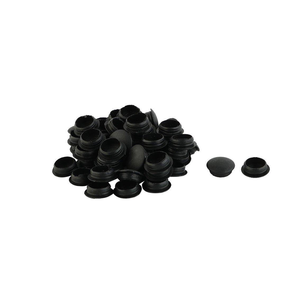uxcell Plastic Flush Type Locking Hole Cap Covers Bung Tube Insert 12mm Dia 50pcs Black a16010500ux1768