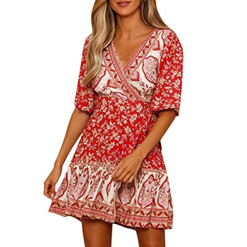 [해외]2019 새로운 여성 보헤미안 프린트 캐주얼 느슨한 미니 드레스 여성 여름 야외 V 목 반 소매 주름 편안한 드레스 / 2019 New Womens Bohemian Print Casual Loose Mini Dress Ladies Summer Outdoor V Neck Short Sleeve Ruffle Comfy Dress