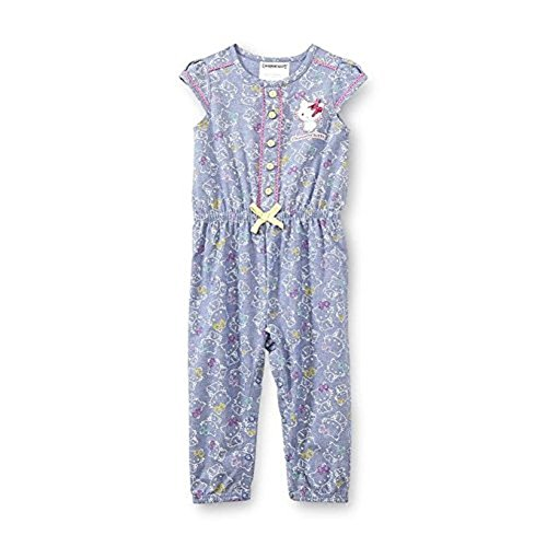 (SANRIO Charmmy Kitty Toddler Girl's Chambray Romper (3T, Blue))